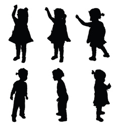 child happy silhouette vector image vector image