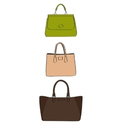 colored handbags vector image vector image