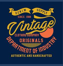 Denim supply vintage clothing company vector