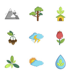 Ecology nature icons set cartoon style vector