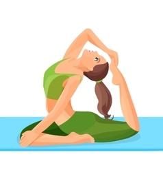 Female person doing yoga calm exercise asana eka vector