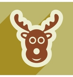 Flat icon with long shadow christmas deer vector