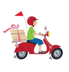 Funny pizza courier on scooter pizza delivery vector
