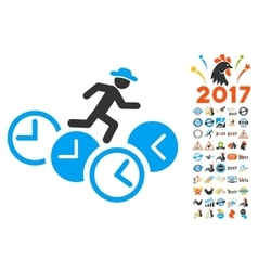 Gentleman running over clocks icon with 2017 year vector