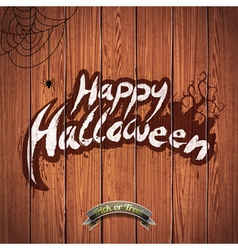 Happy halloween with spider on wood background vector