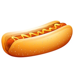 Hot dog in bun with mustard on top vector image
