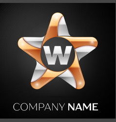 Letter w logo symbol in the colorful star on black vector