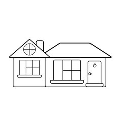 line big house with roof and windows with door vector image