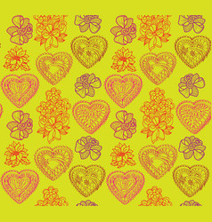 love heart seamless pattern holiday greeting vector image