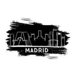 madrid skyline silhouette hand drawn sketch vector image