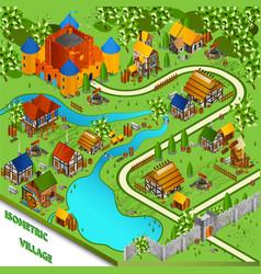 Medieval village isometric landscape vector