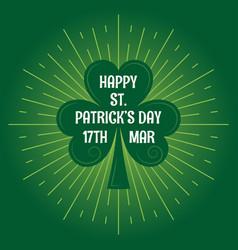 Patricks day leaf clover logo vintage background vector