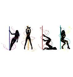 Pole dance women vector image