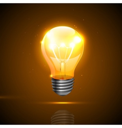Realistic light bulb on the dark background vector
