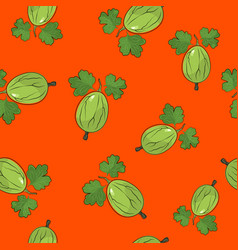 Seamless pattern gooseberry on orange background vector