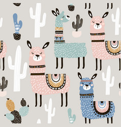 seamless pattern with llama cactus and hand drawn vector image