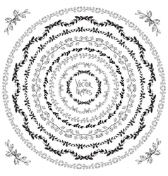Set of decorative floral round frames and corner vector image