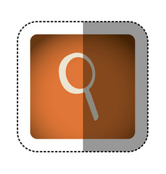 sticker color square with magnifying glass icon vector image