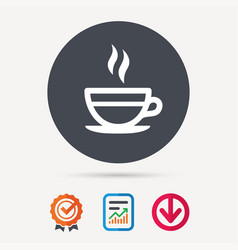 Tea cup icon hot coffee drink sign vector