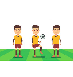 Three soccer players on green field vector