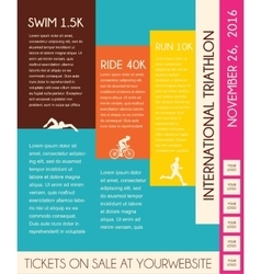 triathlon flat design poster vector image vector image