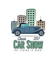 Vintage car show label design Classic auto badge vector image