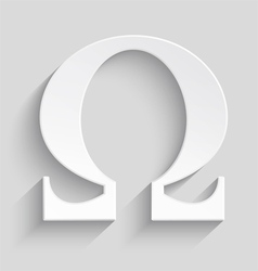 White Omega letter with realistic shadow on gray vector image
