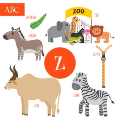 Letter z cartoon alphabet for children zebra vector