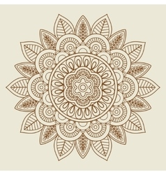 Hand drawn floral rosette in vintage colors vector