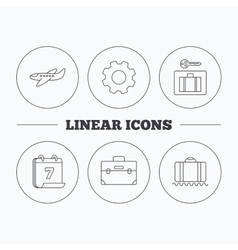 Baggage luggage security and airplane icons vector