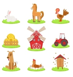 Farm associated animals and objects collection vector