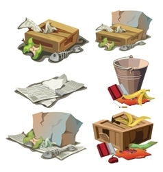 Grocery paper and other trash set of garbage vector