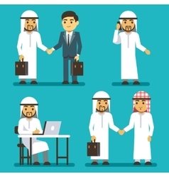 Arabian businessman characters at work in office vector