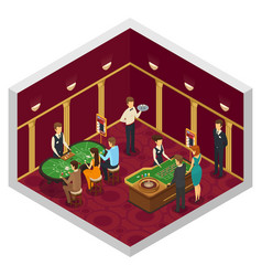 Colored casino isometric interior vector