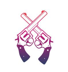 Revolvers crossed handguns over white vector