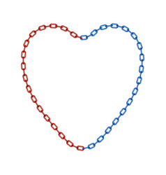 half of chain in red and half of chain in blue vector image