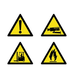 Workplace sign security camera forklift flammable vector