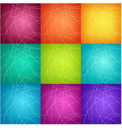 set of nine colorful geometric backgrounds vector image