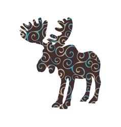 Elk mammal color silhouette animal vector