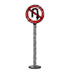 Traffic signal u-turn prohibited vector