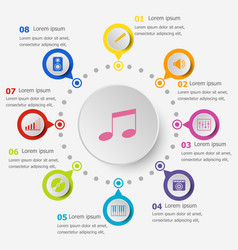 Infographic template with music icons vector