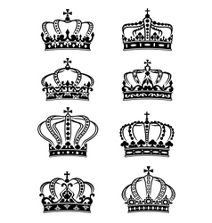 Set of heraldic royal crowns vector