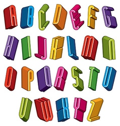 3d font colorful letters geometric dimensional vector