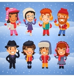 Cartoon characters in winter clothes vector
