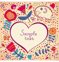 Flower heart invitation card vector image