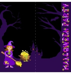 Background with witch spoon and magic pot castle vector