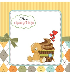 birthday greeting card with cupcake and puppy toy vector image vector image