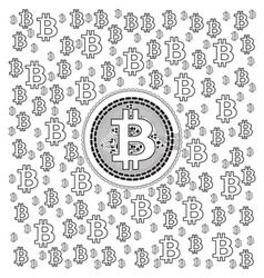 bitcoin lineart pattern vector image vector image