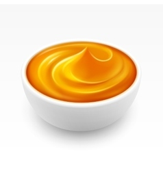 Bowl of dense amber honey isolated on background vector