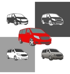 Car bus van commercial vehicle silhouette icons vector